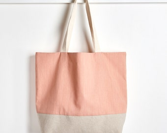 Reusable Grocery Bag in Nectarine, Market Tote Bag, Farmers Market Bag, Cotton and Linen Tote Bag by Made on Main VT