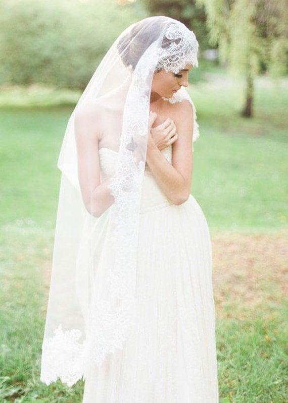 Mantilla, Lace Veil, Chantilly Lace Veil,Drop veil, Ethereal lace veil, Wedding veil, Bridal Veil, Boho Bride, Boho Veil - TAKE A VOW Veil