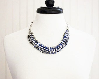 Blue Ribbon Chain Necklace