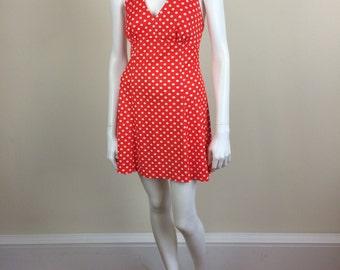 red & white polka dot halter minidress 70s