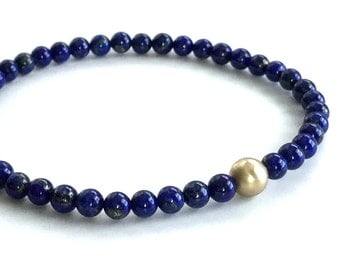 Lapis Lazuli Bracelet, Gold Bead Bracelet, Cobalt Blue Natural Stone Jewelry, Small Beaded Bracelet, 14 K Gold Filled Jewelry