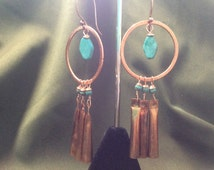 """earrings """"Musical Hoops"""" Brushed Copper Hoops, Copper jingle cones, magnesite, Copper Hoop earrings, Chandelier earrings, Reiki charged,"""