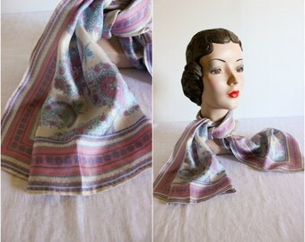 Silk Scarf · Paisley Fans Pink Blue · 1950s Vintage