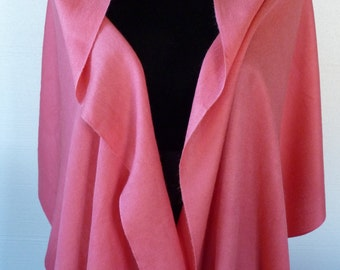 Vintage Pashmina Cashmere Shawl Wrap Scarf From India Exc Condition in Medium Coral Pink Like New