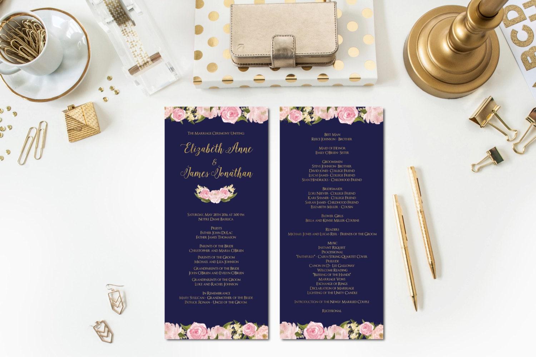 navy blush gold wedding ceremony programs