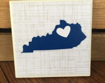 Kentucky Coasters, Blue Kentucky Coasters, Set of 4 Kentucky Coasters, State of Kentucky Coasters, Set of 4 Coasters