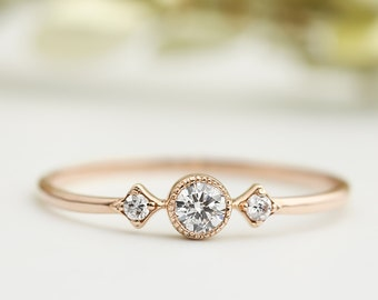 Rose gold engagementring, Unique engagement ring, 3mm white diamond, conflict free, three diamond ring, 14k 18k gold, platinum, sta-r103-dia