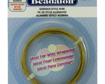 Beadalon German Style Wire 24ga Satin Brass Color 12 Meter Coil (WR5524SB)