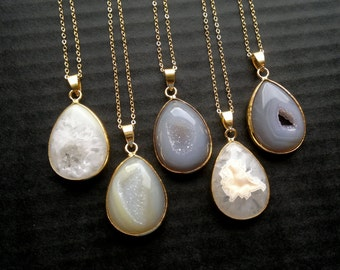 CLEARANCE Smooth Druzy Necklace Agate Necklace Druzy Pendant Gold Edge Agate Jewelry Gold Dipped Jewerly Natural Color Nude Semiprecious