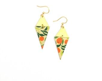 Oranges | Earrings Golden geometric large diamond - handmade