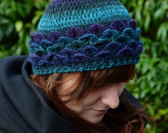 Dragonscale Pixie Hat Blue Purple Ready to Ship finished product!