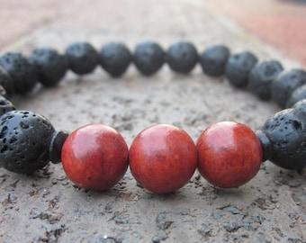 lava stone bracelets Mens bracelets women's bracelets black bracelets energizing coral beaded bohemian yoga  boho stacking stretch bracelet