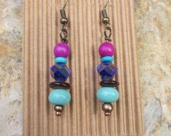Boho chic earrings colorful earrings magenta pink purple brown shell turquoise earrings gold moroccan beaded earrings bohemian yoga earrings