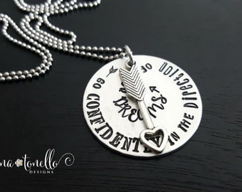 Graduation Necklace, Arrow Necklace, Go Confidently in the Direction of Your Dreams, College Graduation Gift, Inspirational Necklace