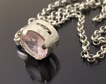 Cherry quartz pendant ,sterling silver pendant, pink pendant Genuine stone ,January birthstone