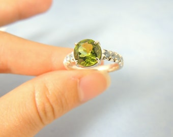 Sale !  Peridot engagement ring with aquamarines, Solitaire ring green peridot,gemstone, August birthstone