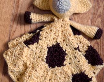 Crocheted Stuffed Giraffe Lovey Blankey, choice of colors