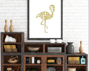 Gold Decor, Flamingo Decor, Yellow Art, Home Decor, Summer Decor, Beach Decor, Gold Yellow Home Decor, Mustard Yellow Art, Poster Art Print