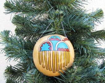 Southwestern Hand-painted Gourd Christmas Ornament #122G Rain Cloud