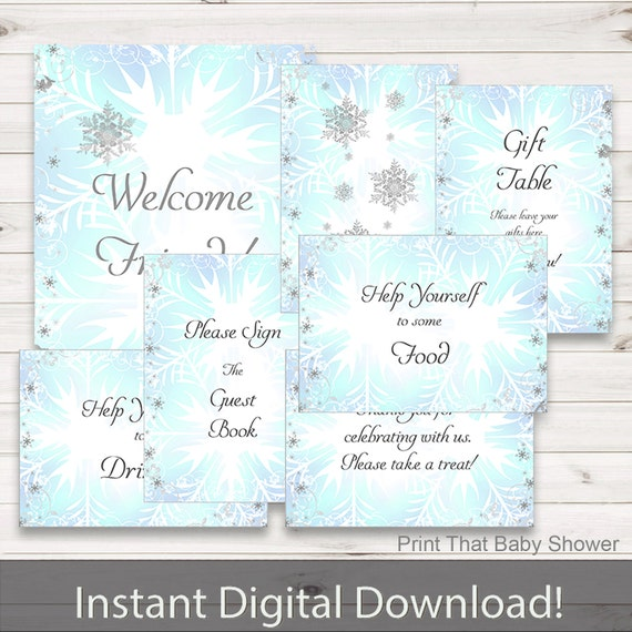 Winter Baby Shower Welcome Sign Decoration
