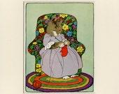 "Knitting Cat - Antique Cat Print C. 1920's Three Little Kittens Storybook Print - Children Story Nursery Decor Matted 8x10"""