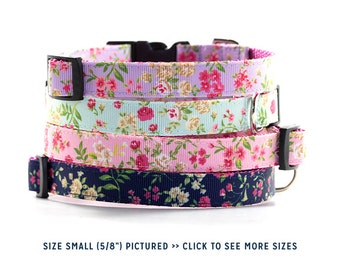 SALE - Reduced Price // Floral Dog Collar // Size S-M // Adjustable Length // Pattern: Cottage Rose in Lavender, Light Blue, Pink, and Navy