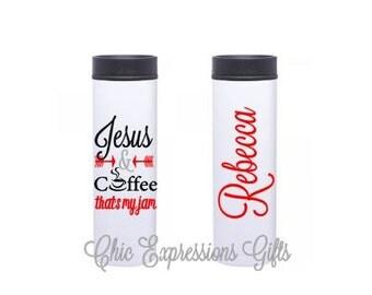 Jesus and coffee that's my jam - 16 oz stainless steel travel mug