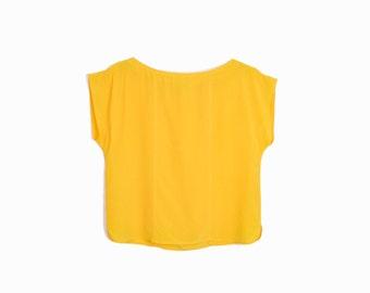 Vintage Silk Tee in Sunflower Yellow / Minimalist Silk Blouse / Yellow Top - women's medium