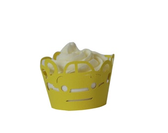 Yellow Cars Cupcake Wrappers, Set of 12