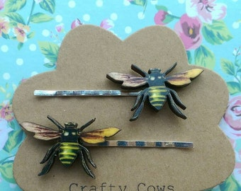 Bee hair pins wooden bumble bee hair slides bee Bobby pins bee hair accessories