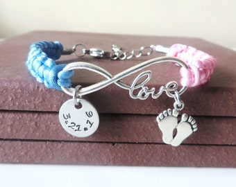 New Baby Infant Baby Feet Hand Stamped LOVE Charm Bracelet With Optional Date Charm Initial Charm and Crystal Charm You Choose Cord Color