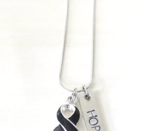 Melanoma Skin Cancer Customizable Awareness Ribbon Stainless Steel Charm Necklace with Optional Add On Charms