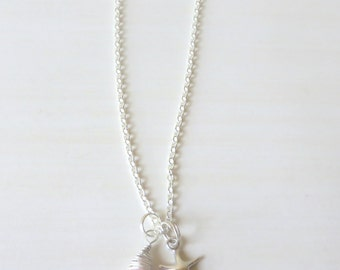 Pink Opal Starfish Beach Lovers Sterling Silver Charm Necklace
