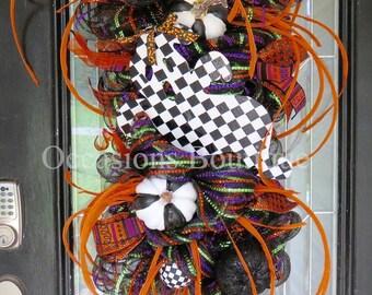Halloween Wreath, Halloween decoration, door swag, wreath for door, Front door wreaths, Fall Wreath, Wreath for Halloween, RAZ