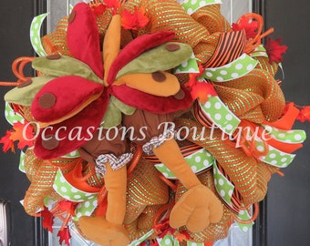 Last One! Fall Wreath, Thanksgiving Decoration, Door Hanger, Wreath for Door, Front door Wreaths, XL Wreath