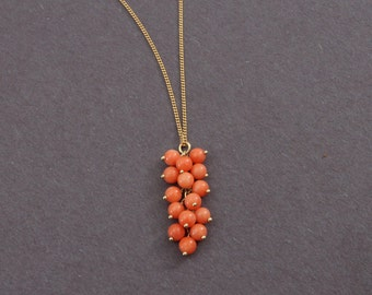 Coral Grape cluster bead pendant with 14K chain necklace LV-#34