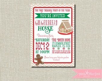Gingerbread House Invitation, Gingerbread House Party, Gingerbread House Decorating Invitation, Gingerbread House Birthday Invitation