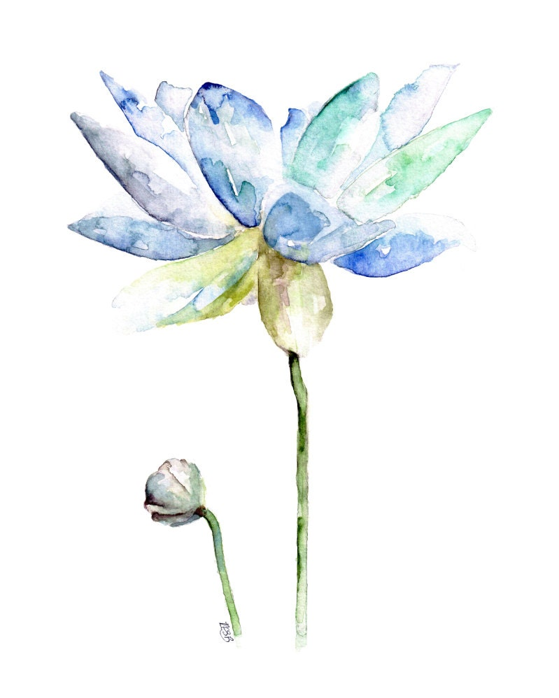 Lotus painting print from original watercolor painting for Spring flowers watercolor