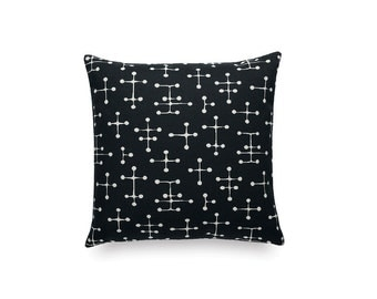 """Charles and Ray Eames small dot pattern. Black and white - Maharam textile. 17"""" x 17"""" pillow with feather insert"""