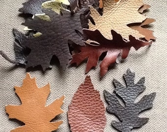 15 x Real leather leaves