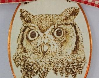 Woodland Owl Handmade Christmas Ornament, Gift Tag or Hostess Gift