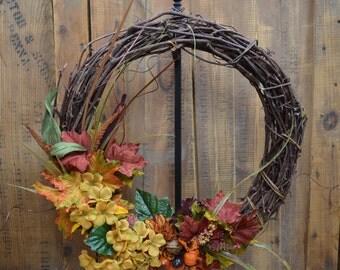 Handmade, One of a Kind, Autumn Floral Grapevine Wreath