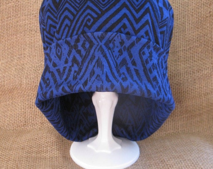 Chemo Hat - Handmade Soft Cotton Blue Black Tribal Beanie Cap for Alopecia and Cancer Headwear, Hair Loss or Chemotherapy Patients