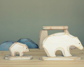Polar bear with baby, wooden toy, play kit, eco-friendly toy