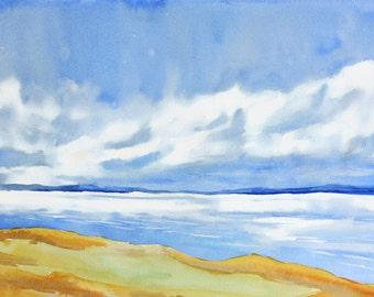 Sky Painting, Coastal Wall Art, Sand Abstract Landscape Watercolor Painting, Blue Wall Decor, Ocean Painting, Cloud, Sea Art, Blue Sky Art