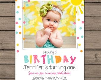 Sunshine Birthday Party Invite Sunshine Lemonade First Birthday Invite You are my Sunshine Pink lemonade Birthday Digital PRINTABLE ANY AGE