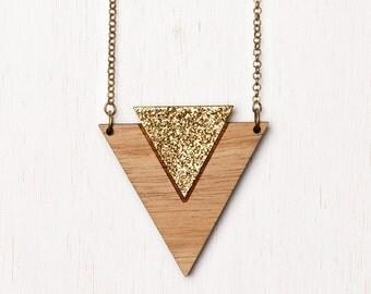 Cleopatra - Geometric Tribal Wood Necklace - gold glitter - laser cut - art deco triangle