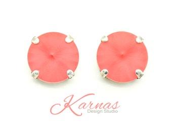 PADPARADSCHA MATTE 12mm Rivoli Stud or Post Earrings Made With Swarovski Elements *Pick Your Finish *Karnas Design Studio *Free Shipping