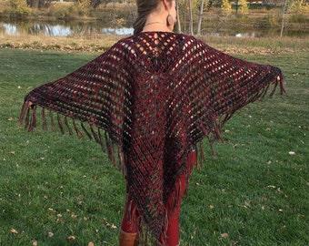 Crochet Shawl Triangle Scarf, Multicolored, Merino Wool, Oversized