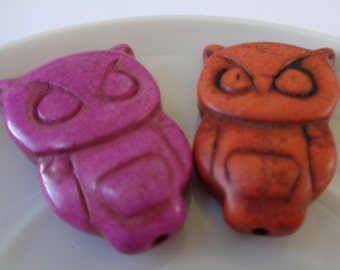 Bright Howlite Owl Beads in Pink and Red